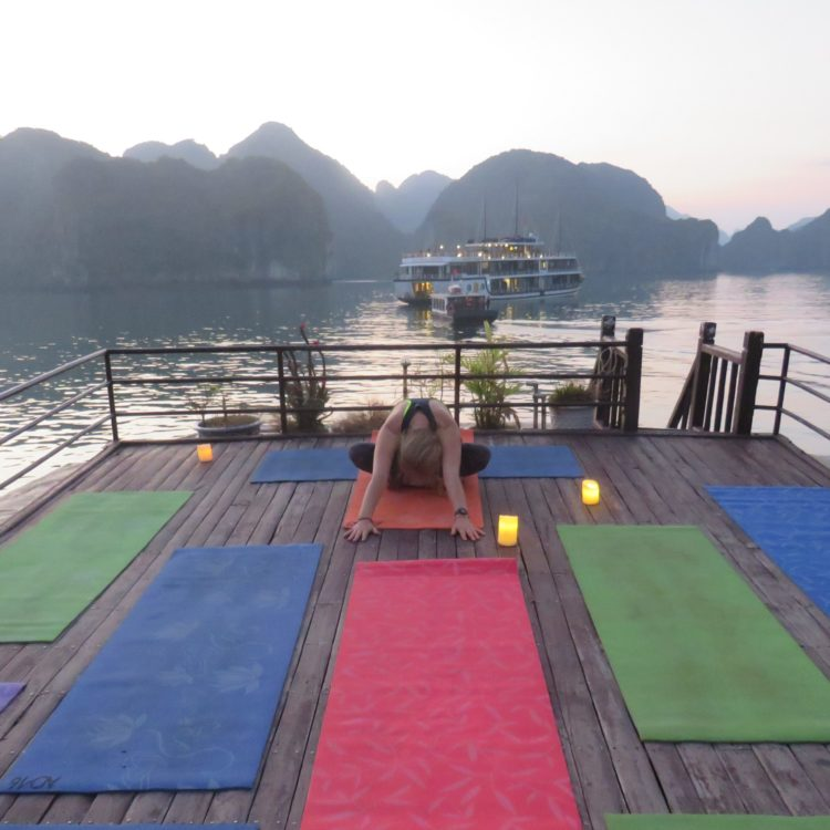 Yoga practice on a boat