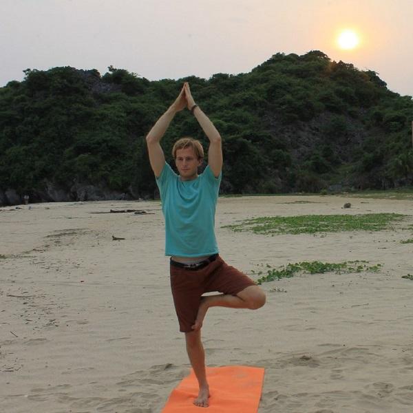 Yoga practice on the beach